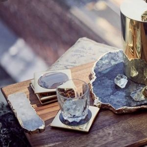 Anna New York Agate Gold Set of 4 Coasters